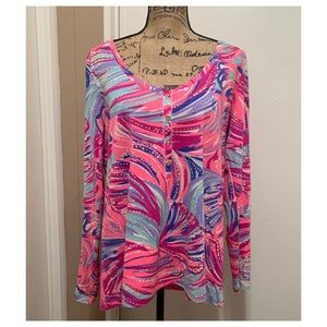Lily Pulitzer Pink Seashell Cotton Long sleeve top